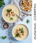 cauliflower potato soup puree...   Shutterstock . vector #1218889561