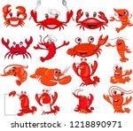 cartoon shrimp and crab... | Shutterstock .eps vector #1218890971