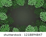 jungle background. frame of...   Shutterstock . vector #1218894847