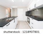 modern kitchen design with... | Shutterstock . vector #1218907801