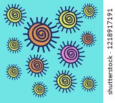 sun pattern . hand drawn. | Shutterstock .eps vector #1218917191