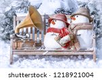 greeting card merry christmas...   Shutterstock . vector #1218921004