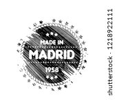 grunge made in madrid emblem ... | Shutterstock .eps vector #1218922111