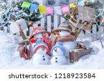 family of snowmen  in the...   Shutterstock . vector #1218923584