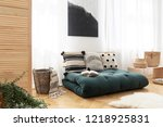 fur and basket next to green... | Shutterstock . vector #1218925831
