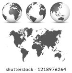 gray 3d globe   earth vector... | Shutterstock .eps vector #1218976264