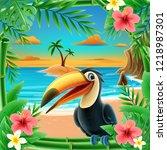 tucan illustration banner | Shutterstock .eps vector #1218987301