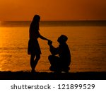 man knees ask woman to marry | Shutterstock . vector #121899529