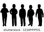 silhouette kids group   Shutterstock .eps vector #1218999931