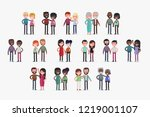 cute couples with isolated... | Shutterstock .eps vector #1219001107