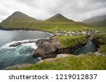 gjogv is a village located on... | Shutterstock . vector #1219012837