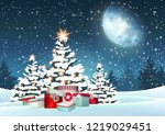 christmas trees and red gift... | Shutterstock .eps vector #1219029451