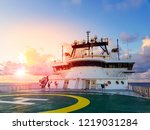 sunset at sea with view of... | Shutterstock . vector #1219031284