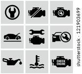 Engine  Car Dashboard Icons Set.
