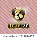 gold shiny emblem with coffee... | Shutterstock .eps vector #1219044157