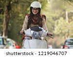 smiling young woman wearing... | Shutterstock . vector #1219046707