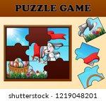 jigsaw puzzle game with happy... | Shutterstock . vector #1219048201