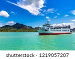 ferry boat at surat thani ... | Shutterstock . vector #1219057207