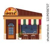 restaurants and shops facade ... | Shutterstock .eps vector #1219058737