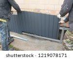 builder contractors  installing ... | Shutterstock . vector #1219078171