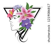 woman face and peruvian lily ... | Shutterstock .eps vector #1219086817