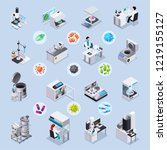microbiology isometric set of... | Shutterstock .eps vector #1219155127