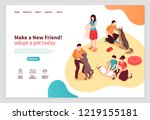 Stock vector animal shelter isometric web page with human characters during communication with dogs and cats 1219155181