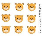 cute smiley bear faces icon set