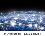 global networking and... | Shutterstock . vector #1219158367