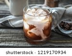 glass cup with cold coffee on... | Shutterstock . vector #1219170934