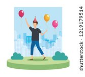 young man with party hat... | Shutterstock .eps vector #1219179514