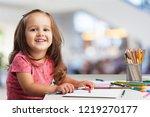 cute little girl doing homework ... | Shutterstock . vector #1219270177