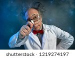 funny scientist in white coat... | Shutterstock . vector #1219274197