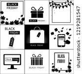 black friday a set of nine on... | Shutterstock .eps vector #1219281547