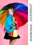 kid girl happy hold colorful... | Shutterstock . vector #1219290127