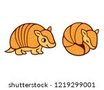 cute cartoon armadillo drawing  ... | Shutterstock .eps vector #1219299001