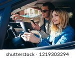 smiling man with smartphone... | Shutterstock . vector #1219303294