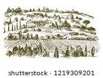 wide view of vineyard. vineyard ... | Shutterstock .eps vector #1219309201