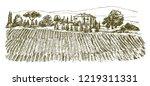 wide view of vineyard. vineyard ... | Shutterstock .eps vector #1219311331
