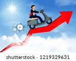 businessman riding a motorcycle ... | Shutterstock .eps vector #1219329631
