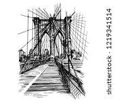 brooklyn bridge in new york...   Shutterstock .eps vector #1219341514