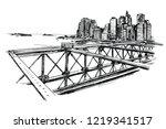 brooklyn bridge in new york...   Shutterstock .eps vector #1219341517