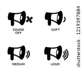 black icon  megaphone and sound ... | Shutterstock .eps vector #1219397884