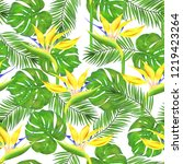 seamless green  philodendron...   Shutterstock . vector #1219423264