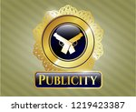 gold emblem with crossed... | Shutterstock .eps vector #1219423387
