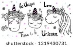 cute unicorn collection.  ink... | Shutterstock .eps vector #1219430731