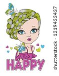 happy girl slogan design | Shutterstock .eps vector #1219433437
