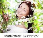 beautiful young brunette woman... | Shutterstock . vector #121944997