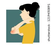 girl with a pain in an elbow... | Shutterstock .eps vector #1219450891
