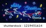 happy merry christmas neon sign.... | Shutterstock .eps vector #1219451614
